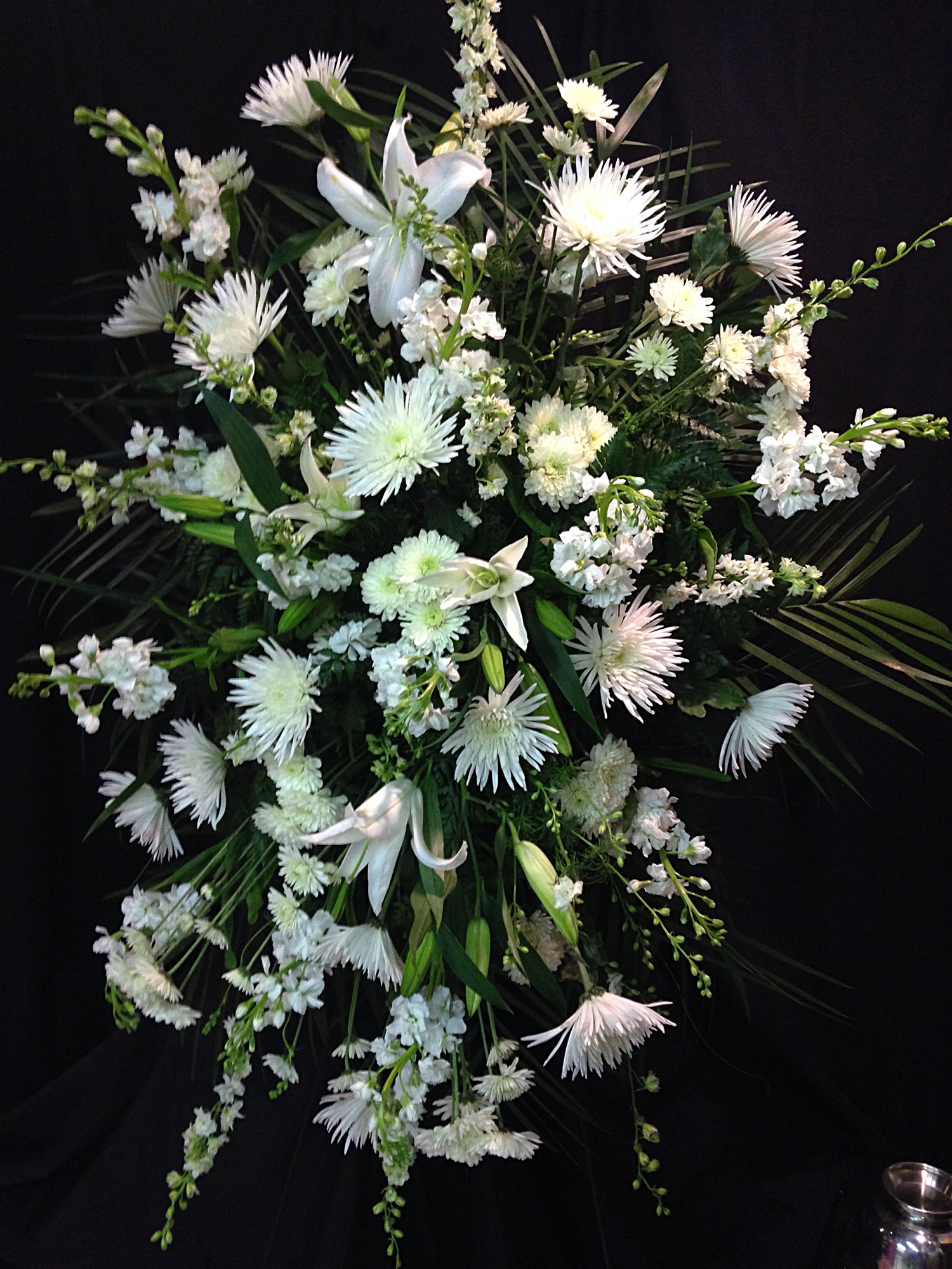White Funeral Spray With Lilies And Mums Williamsburg Floral