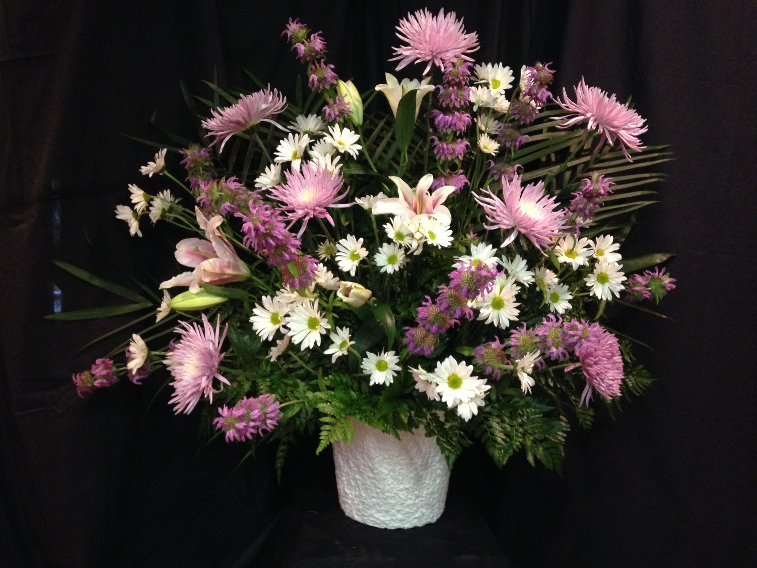 Funeral Mache Basket With Lilies And Mums Williamsburg Floral