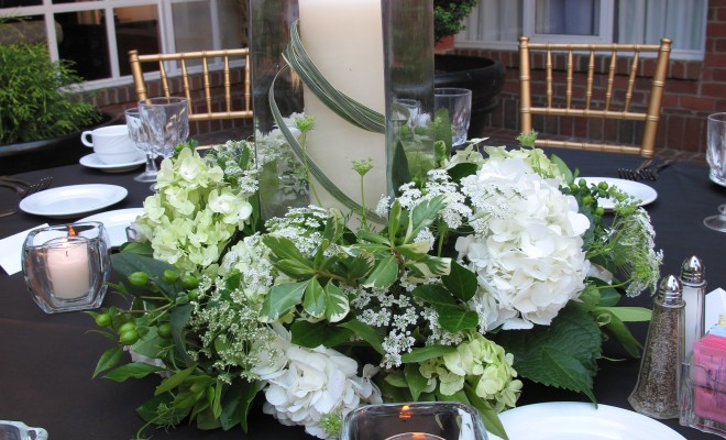 Green White Wedding Candle Centerpiece Williamsburg Floral