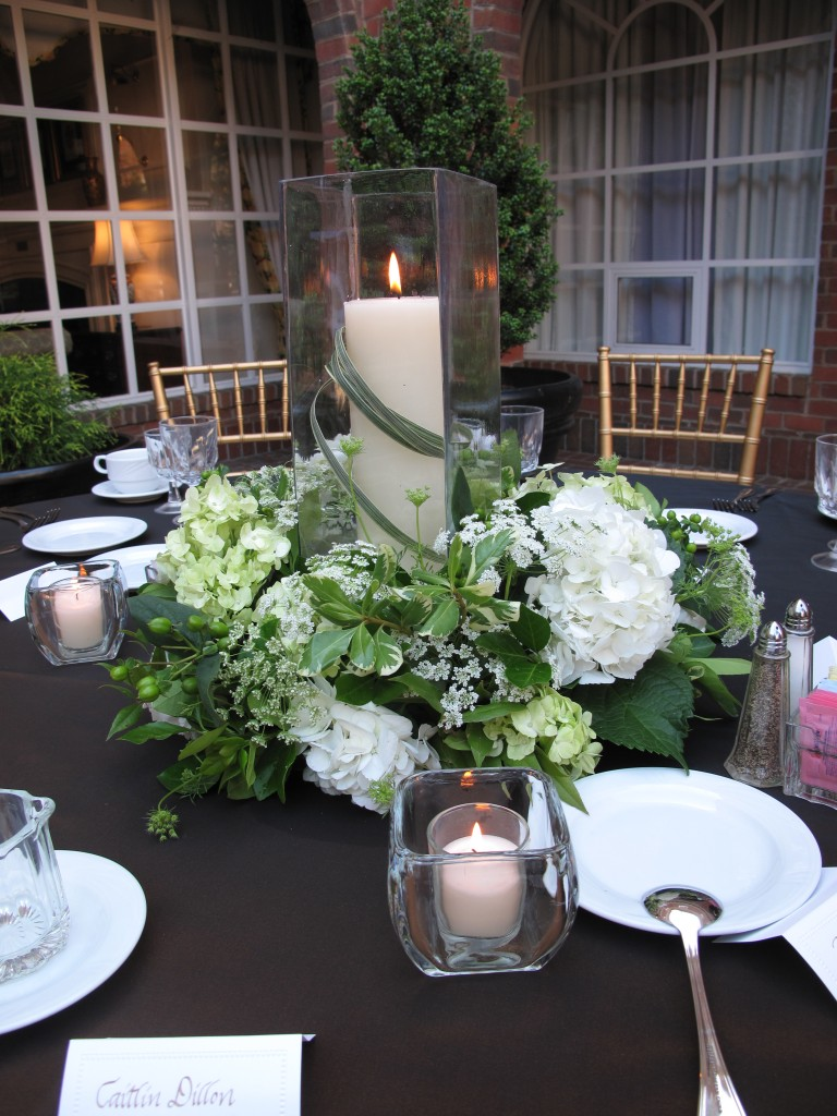 Green white wedding candle centerpiece williamsburg floral the blog junglespirit Images