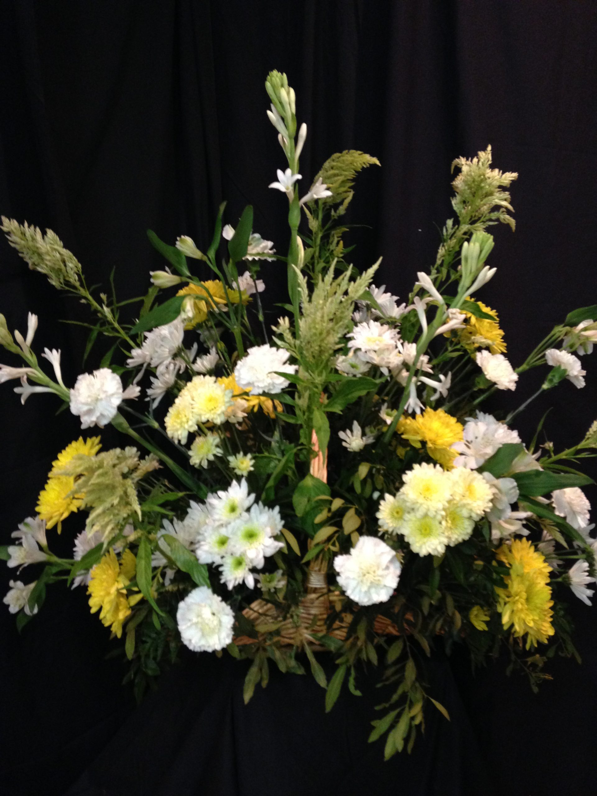 Yellow White Fireside Basket Funeral Arrangement Williamsburg Floral