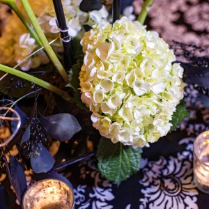 black wedding centerpiece white hydrangea