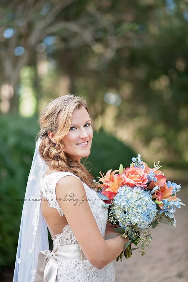 Wedding Bouquet Blue Hydrangea Coral Rose Williamsburg Floral