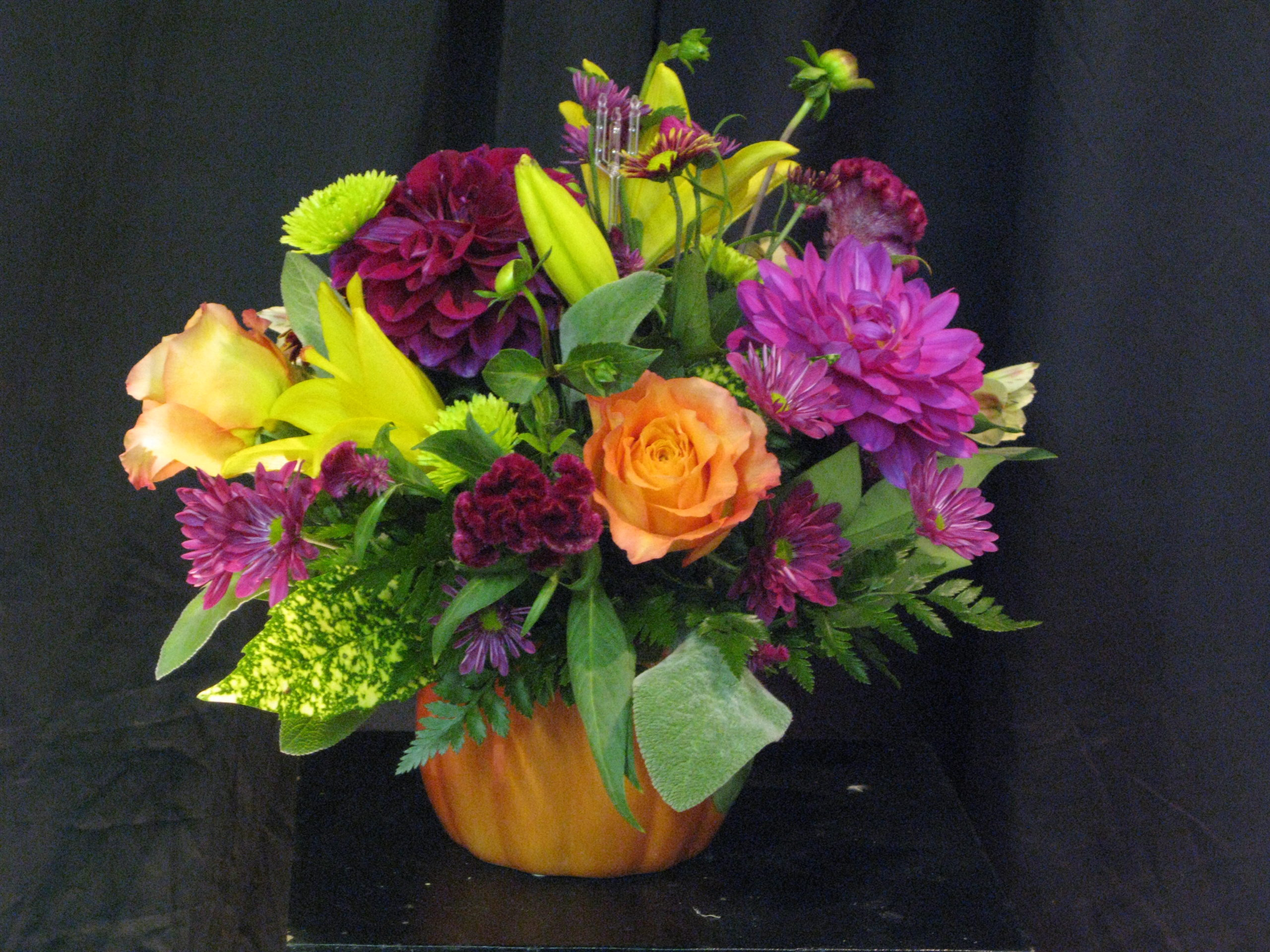 Fall flowers in pumpkin vase with dahlia williamsburg floral this is a seasonal fall floral arrangement with locally grown dahlias orange roses magenta izmirmasajfo