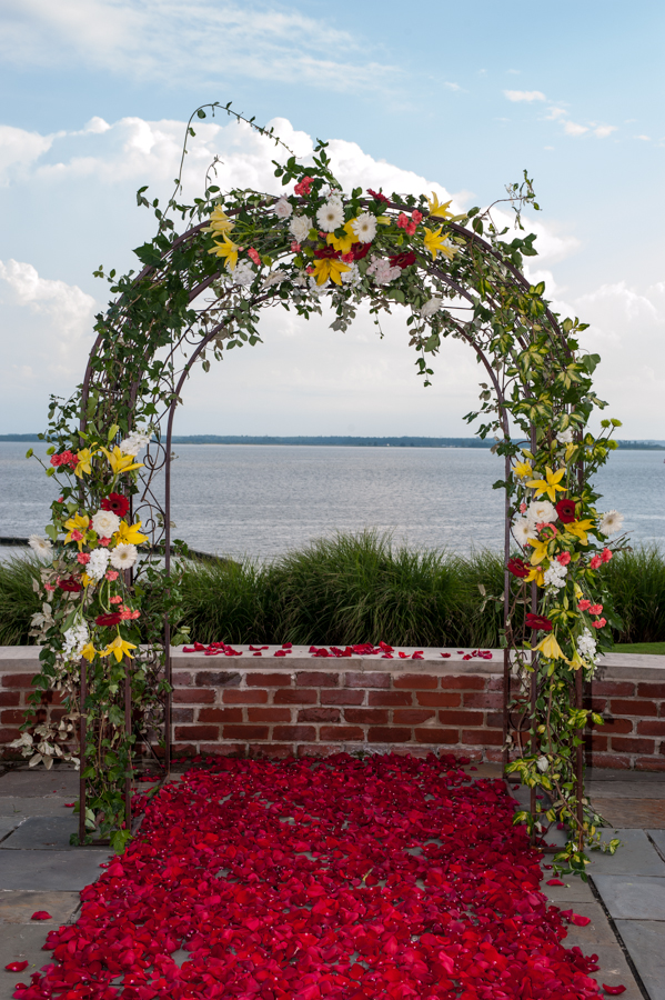 Mixed Flower Wedding Arch Petal Aisle Williamsburg Floral