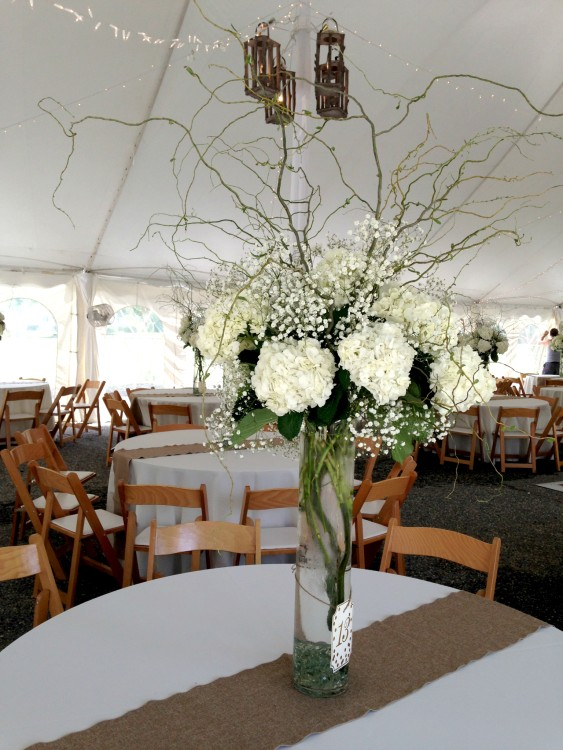 Tall White Wedding Centerpiece With Babys Breath White