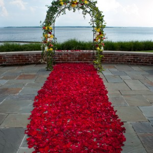 The bride and groom wanted a mixed color palette, and they wanted a deep wedding aisle petal with their arch. So we formed a wedding carpet out of fuschia rose petals underneath the bride and groom's wedding arch.